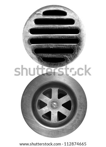 A drain hole isolate on a white background - stock photo