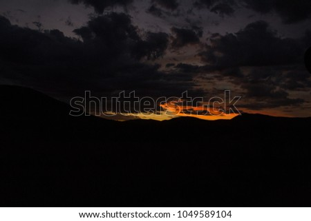 A dramatic african sunset at Pilanesberg, south Africa.