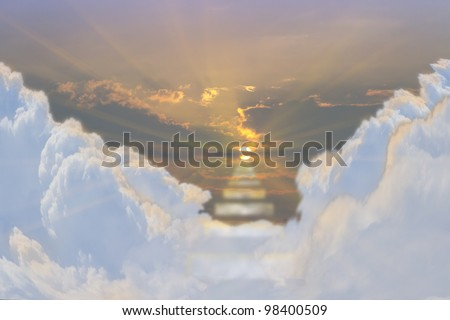 a dramatic beautiful stair way to heaven - stock photo