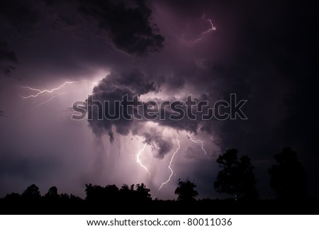 A dramatic scene is formed by a combination of intra cloud and cloud to cloud lightning. The pictures were shot around 3am on June 24, 2011 near West Point, AR