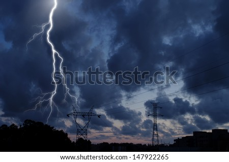 A dramatic thunderstorm sky view - stock photo