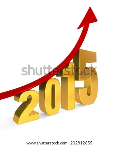 """A dramatically upward trending red arrow climbs above a golden """"2015"""". Isolated on white with shadow. - stock photo"""