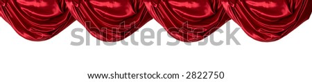A draped red satin curtain valance against white - stock photo
