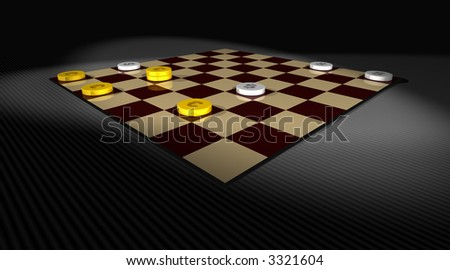 a draughts game with euro and dollar chips