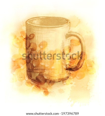 A drawing of a cup of coffee, with a photo of coffee beans, toned, against coffee stained brown texture faded into white  - stock photo