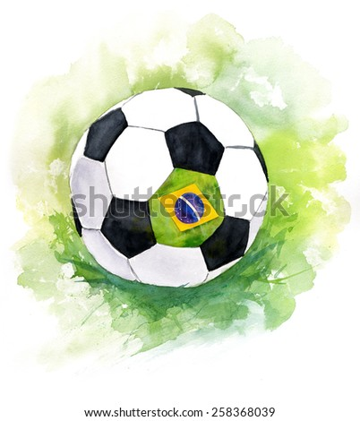 A drawing of a football (soccer) ball with the flag of Brazil - stock photo