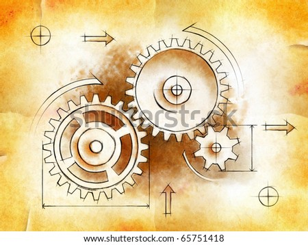 A drawing of some gear-work on an old an stained piece of paper. Digital illustration. - stock photo