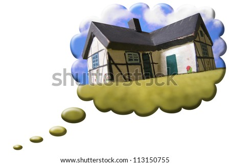 A dreams house balloon isolated on white background - stock photo