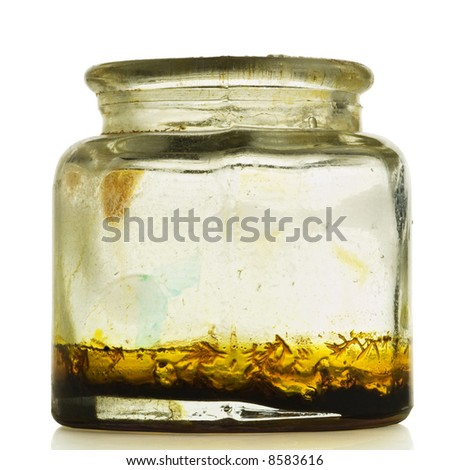 a dried painter's bottle on white