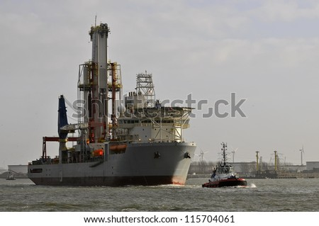 A drillship is a maritime vessel that has been fitted with drilling apparatus. - stock photo