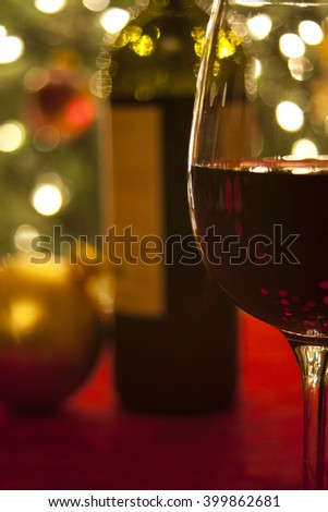 A drink by the tree at Christmas