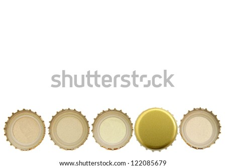 A drinking with beer caps row - stock photo