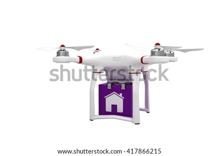 A drone bringing a purple cube on white background - stock photo