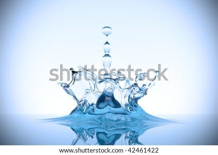A drop splash in a clean blue water - stock photo