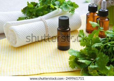 A dropper bottle of coriander essential oil. Coriander fresh leaves and white towels in the background. - stock photo
