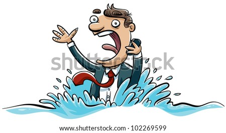 A drowning businessman calls for help on his mobile phone. - stock photo