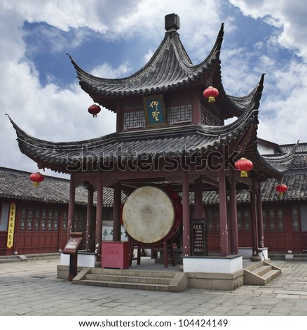 A drum pavilion at a traditional and ancient Confucian temple in Nanjing, China. - stock photo