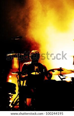 a drummer at an festival open air - stock photo