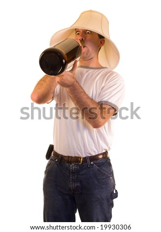 A drunk man drinking from a giant bottle