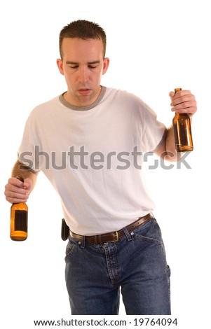 A drunk man stumbling while walking - stock photo