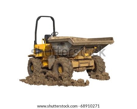 A Dumper Truck with muddy wheels isolated on white - stock photo