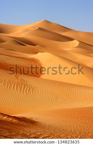 A dune landscape in the Rub al Khali or Empty Quarter. Straddling Oman, Saudi Arabia, the UAE and Yemen, this is the largest sand desert in the world. - stock photo