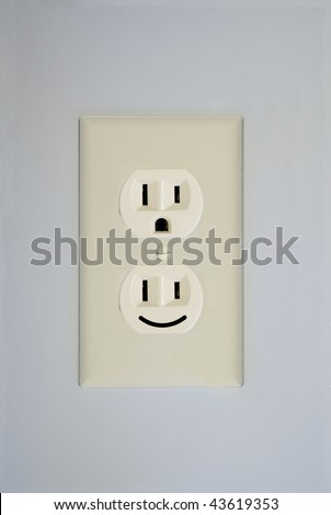 "A duplex receptacle shows a standard ""surprised face"" and an additional ""smiley face""."