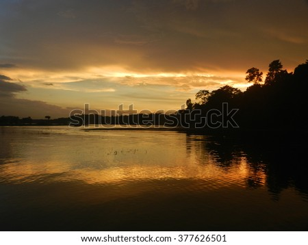 A dusk moment in Rangunia - stock photo