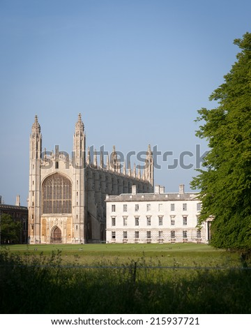A dusk view across the rural setting of the chapel of Kings College, Cambridge University. - stock photo