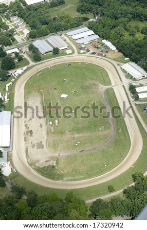 A dusty circular track for racing. - stock photo