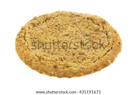 A Dutch apple pie in a tinfoil baking dish isolated on a white background.