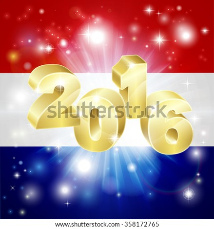 A Dutch flag with 2016 coming out of it with fireworks. Concept for New Year or anything exciting happening in the Netherlands in the year 2016. - stock photo