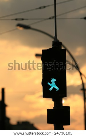 A East German pedestrian's traffic-light at sunset, Berlin - stock photo