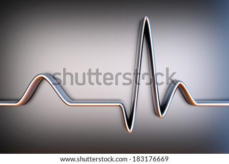A ECG line. 3D Illustration. - stock photo
