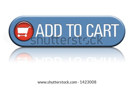 A ecommerce web button that says add to cart on a reflective white background - stock photo