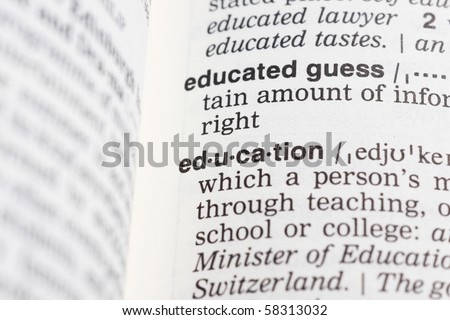 a education definition in a dictionary - stock photo