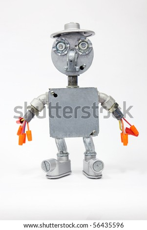 A Electrical Character made from electronic components. - stock photo