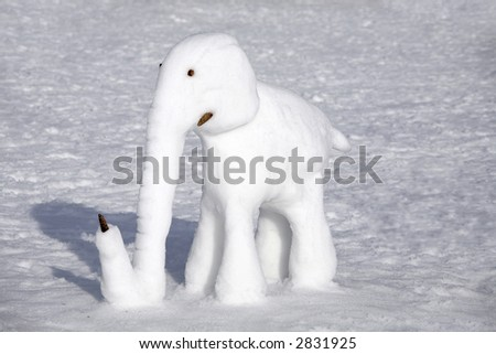 a elephant made of snow - stock photo