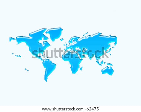 a embossed map of the world (3D) - stock photo