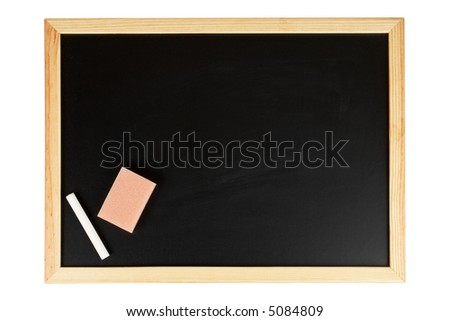 A empty black chalkboard with chalk and eraser. Path included