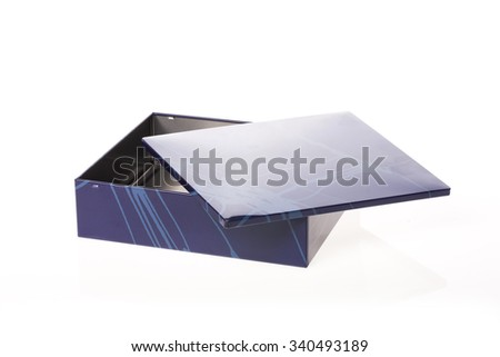 A empty(blank) blue stainless box(container) with pattern isolated white.