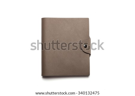 A empty(blank) diary with grey leather cover, iron string spread isolated white. - stock photo