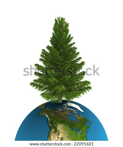 a empty christmas tree with earth global
