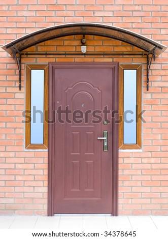 a entrance door and lantern - stock photo