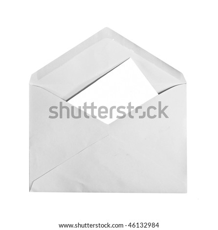 A envelope with letter inside, copyspace, isolated on white - stock photo