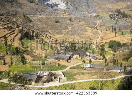 A ethnic minority village in Ha Giang, Vietnam, view from high view