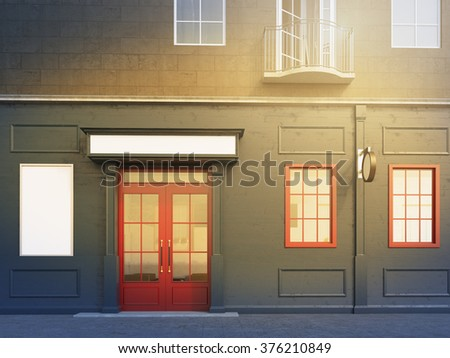 A facade of a house with a small cafe on the ground floor. A blank poster to the left and two windows to the right of a red door. Front view. Filter. Concept of a city cafe. 3D rendering.