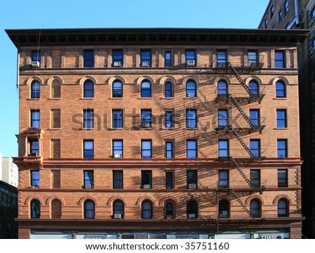a facade of a new york city building - stock photo