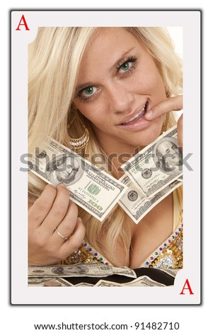 A face card of a woman with money in her hands.