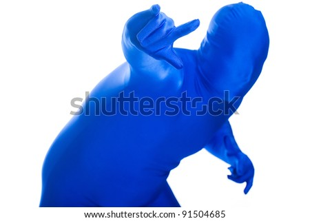 A faceless man in a blue body suit giving the rock and roll gesture with his hands. - stock photo